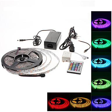 Vanntett 5M 300x3528 SMD RGB LED stripelys med fjernkontroll med 24 knapper og AC-adaptersett (100-240V)