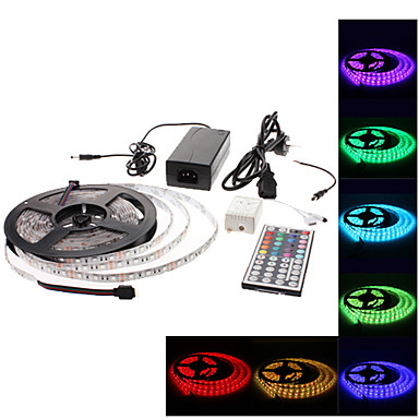 Waterproof 5M 300x3528 SMD RGB LED Strip Light with 44-Button Remote Controller and AC Adapter Set (100-240V)