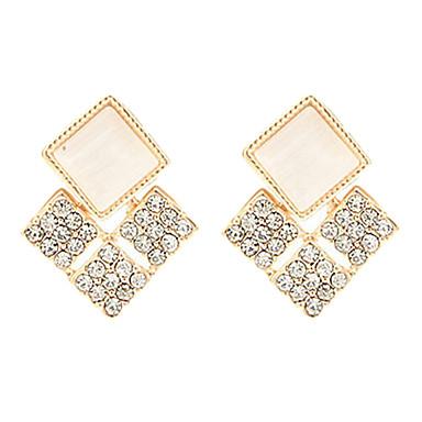 Golden Square piezas de cristal pendientes Stud