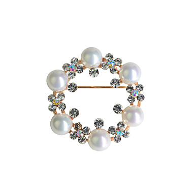 Round Pearl Ring Zircon Alloy Brooch