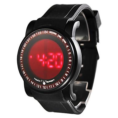 Hombres pantalla táctil estilo de silicona reloj de pulsera digital LED (Negro)