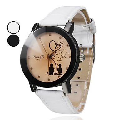 Women's Fashion Watch Quartz PU Band Cartoon Black White