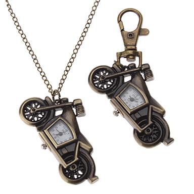 Unisex Motorrad Stil Legierung Analog Quarz Schlüsselbund Halskette Uhr (Bronze)