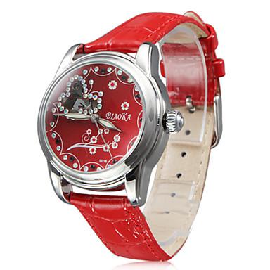 Women's Fashion Style PU Mechanical Analog Wrist Watch (Red)