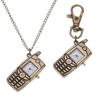 Unisex Mobile Phone Style Alloy Analog Quartz Keychain Necklace Watch (Bronze) Cool Watches Unique Watches
