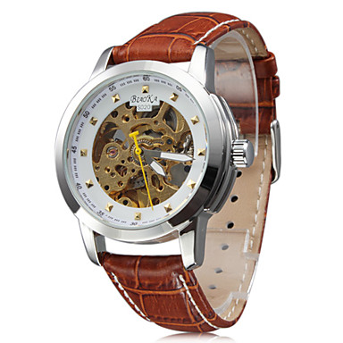 Women's Fashion Style PU Analog Mechanical Wrist Watch (Brown)