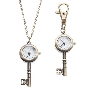 Unisex Key Stil Legierung Analog Quarz Schlüsselbund Halskette Uhr (Bronze)