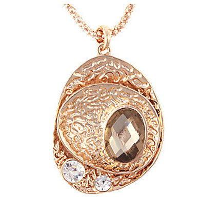 Women's Stainless Steel Chain Necklace with Crystal and Rhinestone Oval-shaped Pendant