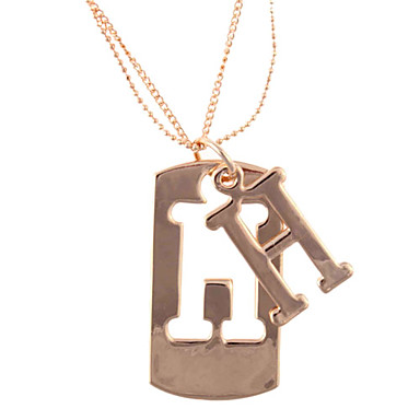 Women's Golden Copper and Steel Chain Necklace with Alloy H Letter Pendant
