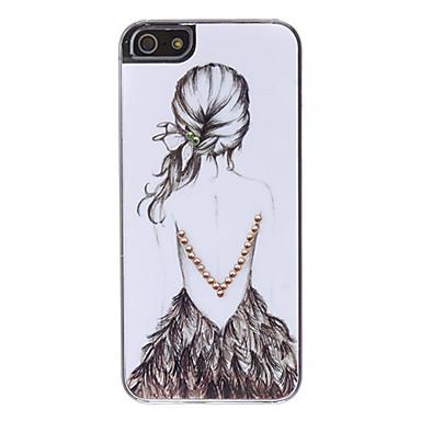 Capa Rígida Com Padrão de Menina para iPhone 5/5S