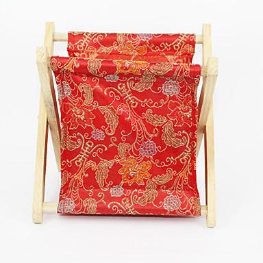 Wooden Frame Flower Pattern Textile Storage Bag