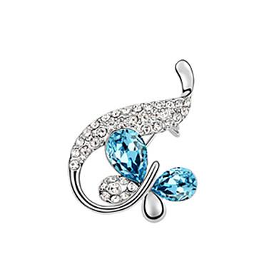 Creative Design Rhinestone Ribbon Crystal Butterfly Platinum Plated broche