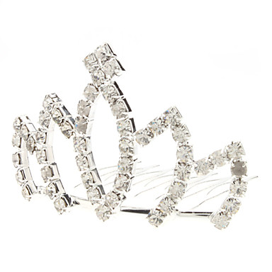 Medium Size Lotus Style Diamond Silver Crown Hairpin für Haustiere
