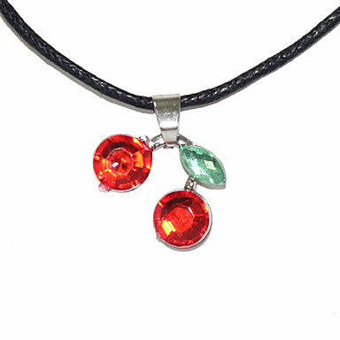 Red Cherry Shaped Textile Necklace