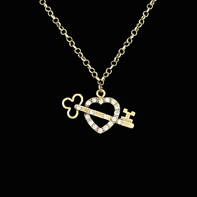 Crystal Inlaid Key To The Heart Alloy Necklace(Assorted Colors)