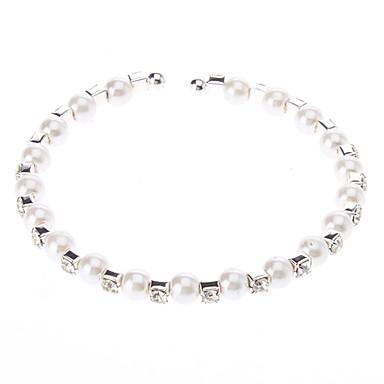 여성의 모조 다이아몬드 화이트 진주 팔찌