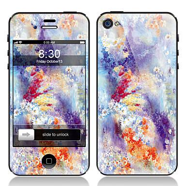 iphone 4/4s için çiçek deseni ön ve arka ekran koruyucu film