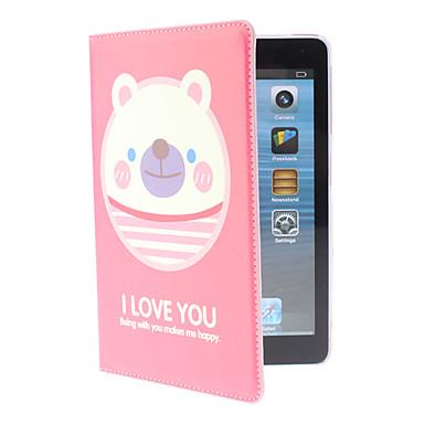Adorável urso de Padrão Vermelho Capa de Couro PU com suporte para mini iPad
