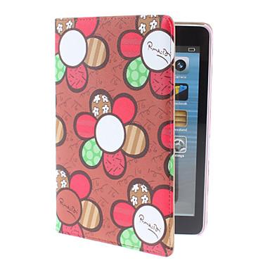 Punaiset kukat Pattern PU Leather Case teline iPad mini
