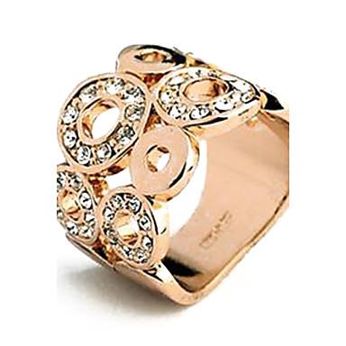 fashionabla set skruv ihåliga rån 18K guldpläterad legering ring