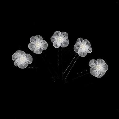 Tül İmitasyon İnci alaşım Çiçek  -  Başlık Saç Pimi 1pc Düğün Özel Anlar Başlık