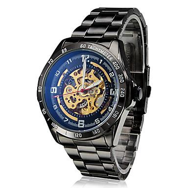 SHENHUA Homens relógio mecânico Relógio de Pulso Automático - da corda automáticamente Gravação Oca Aço Inoxidável Banda Luxuoso Preta