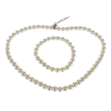 Women's Pearl Jewelry Set Necklace / Bracelets & Bangles - Fashion White Jewelry Set For Wedding / Party / Special Occasion