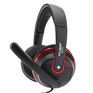 OVLENG Moda Headphone com bom Perfoemance de som e microfone Rotary (Preto + Vermelho) S777