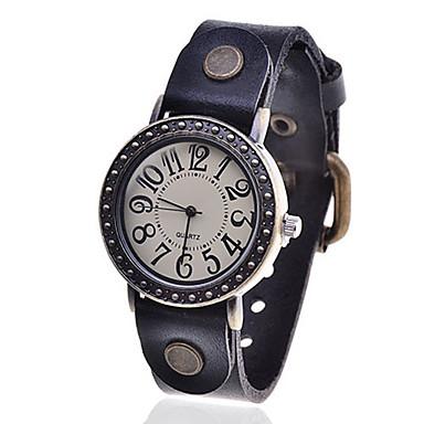 Hommes et femmes Vintage PU Zircon quartz analogique montre-bracelet (bleu)