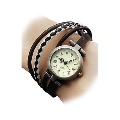 Kadın's Quartz Bilek Saati Bilezik Saat Japonca Gündelik Saatler Gerçek Deri Bant Bohem Çok-Renkli