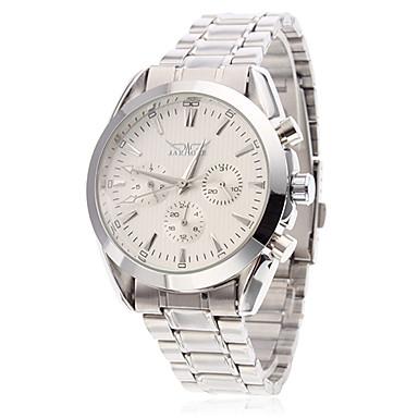Resistente à água Estilo Aço analógico relógio de pulso mecânico para homens (Silver)