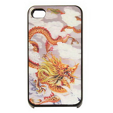 3D Changeable Dragon Pattern Hard Case for iPhone 4/4S(Yellow)