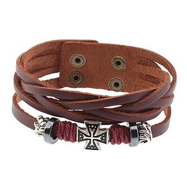 Cross Stitch Leather Bracelet