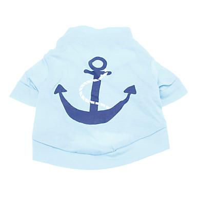 Köpek Tişört Köpek Giyimi Denizci Mavi Pamuk Kostüm Evcil hayvanlar için Erkek Tatil Moda