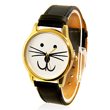 Women's Cat Face Design Casual PU Band Analog Quartz Wrist Watch(Black) Cool Watches Unique Watches