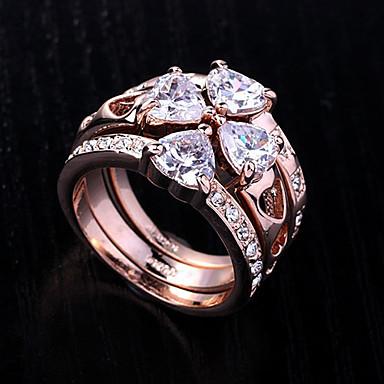 lureme®gold zogene Legierung Zirkon Spleißen drei Ringe