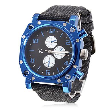Men's Blue Square Case Fabric Band Quartz Analog Wrist Watch Cool Watch Unique Watch