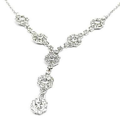 Diamond-Studded Floral Alloy Necklace