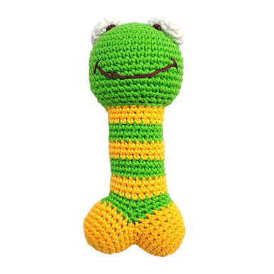 Environmental Friendly Cute Frog Pattern Crocheted Cotton Thread Squeak Toys for Dogs (Length: 18cm)