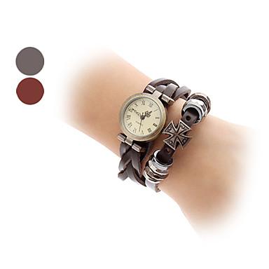 Women's Quartz Analog Cross Decor Leather Band Bracelet Watch (Assorted Colors)