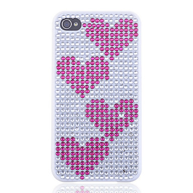 Peach Heart Pattern Zircon Covered Back Case for iPhone 4/4S