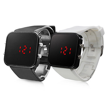 Pair of Silicone Sports Style Red LED Wrist Watch (Black and White) Cool Watches Unique Watches