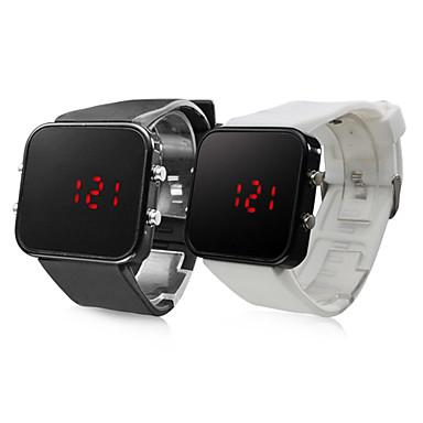 실리콘 스포츠스타일 레드 LED 손목시계 한쌍 (블랙 앤 화이트)