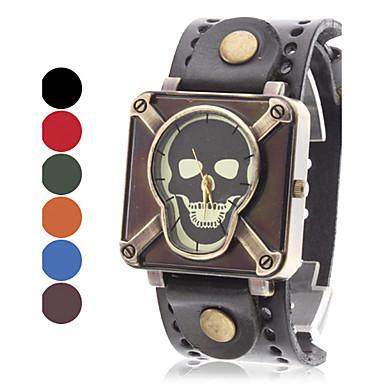 Women's Skull Style Leather Quartz Analog Wrist Watch (Assorted Colors)