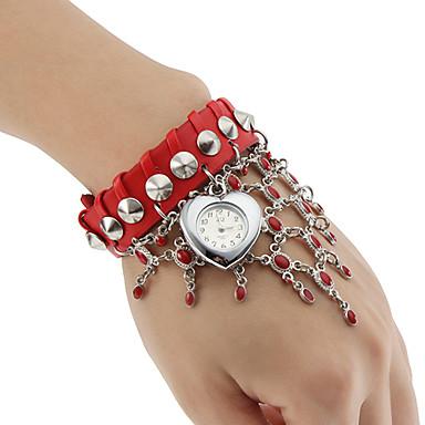 kvinders quartz analog hjerteformet tilfælde læder band armbånd ur (assorterede farver)