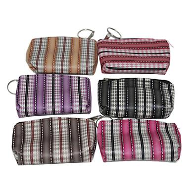 Leather Portable Zipper Stripe Pattern Change Purse(Random Colors)