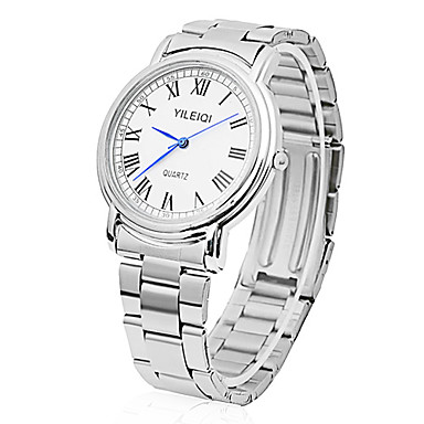 Résistant à l'eau en acier inoxydable Quartz analogique Sport Montre-bracelet pour hommes (Blanc)