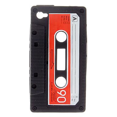 Kestävä Tape Style Silica Gel Soft Case for iPhone 4/4S (Musta)