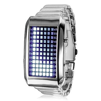 Men's Blue LED 72-Lattice Display Silver Steel Band Wrist Watch Cool Watch Unique Watch
