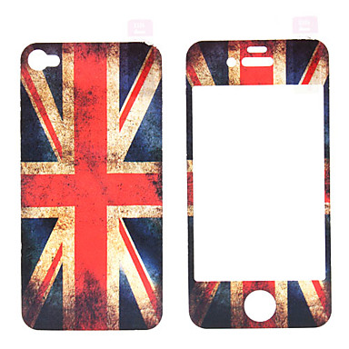 The Union Jack Pattern Film Protector Set with Cleaning Cloth for iPhone 4/4S